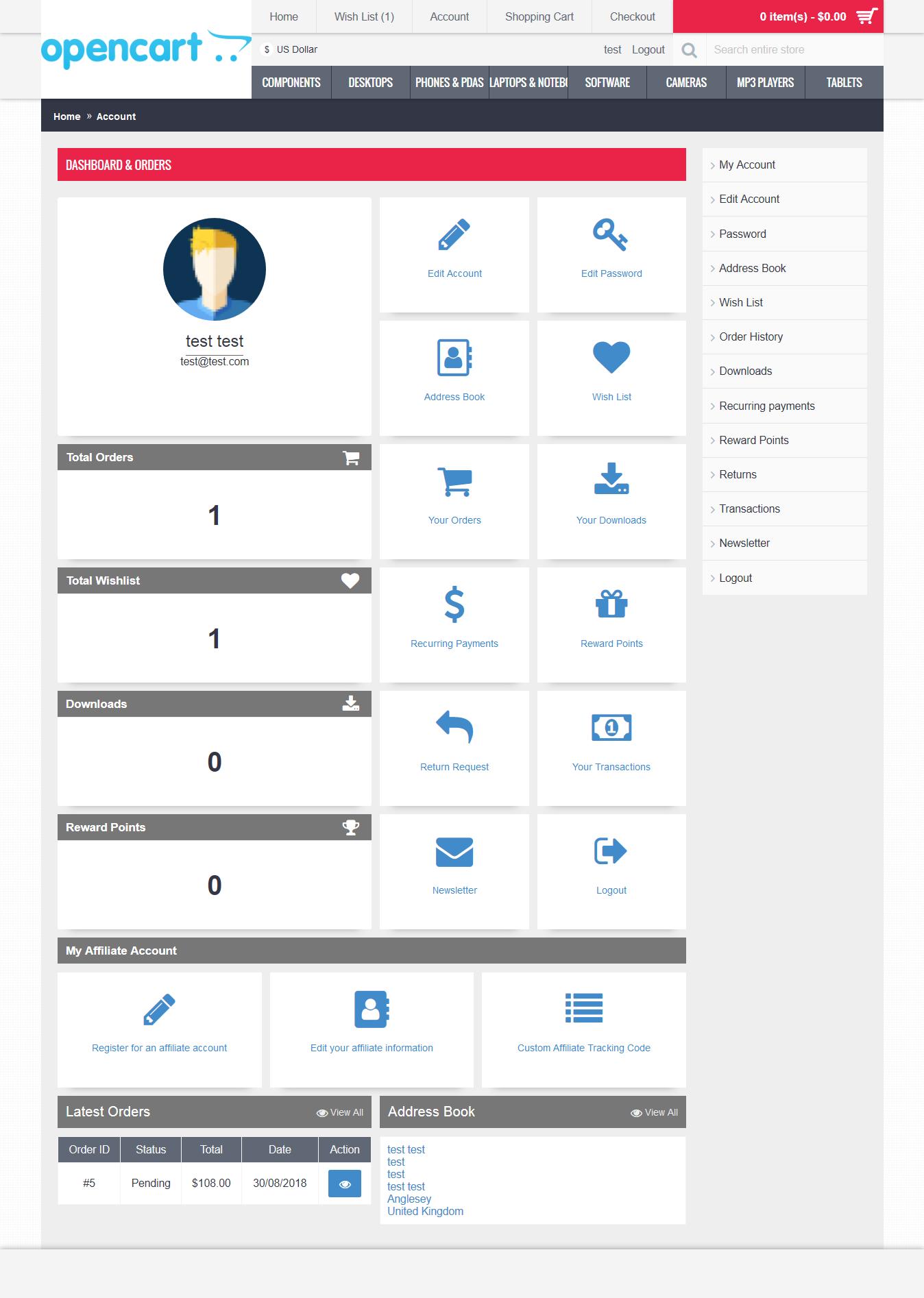 OpenCart Custom Account Dashboard Journal Theme